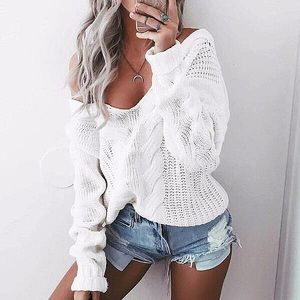 Sweaters - White Quality Cable Knit Oversized Sweater, S-XXL